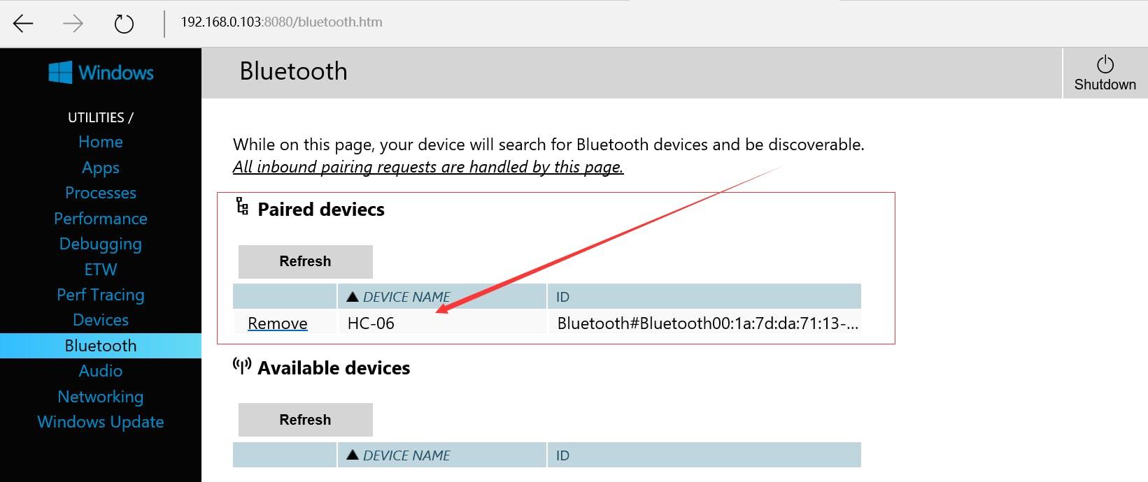 Fig. 11: Bluetooth Pairing on Windows 10 IoT Core