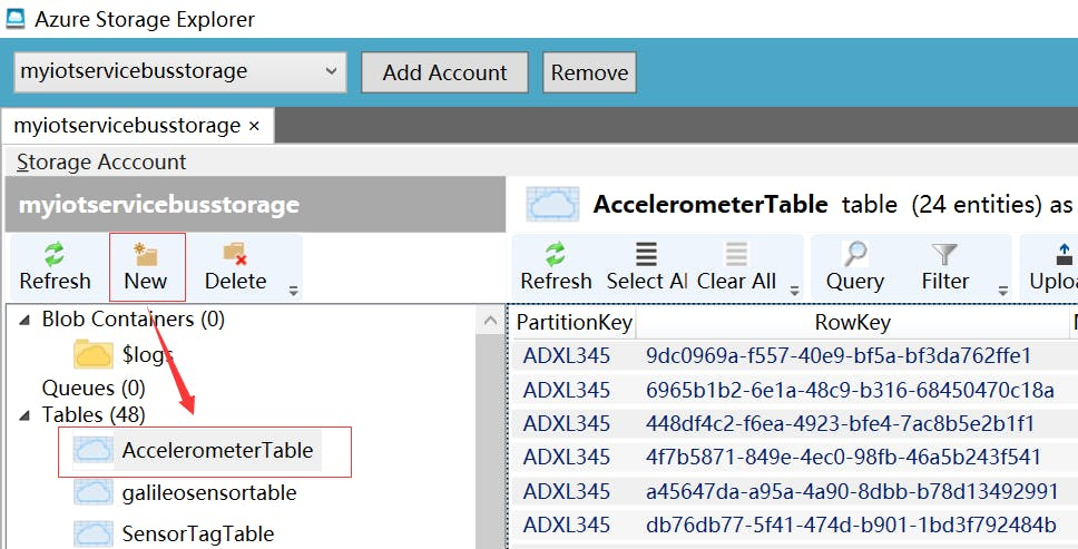 Fig.14: Create Azure Storage Table