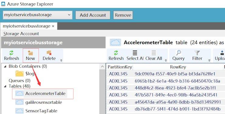 Fig.14: Create Azure Storage Table