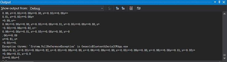 Fig. 20: Debug information shown on Output Window of Visual Studio