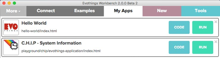 Evothings Workbench - My Apps
