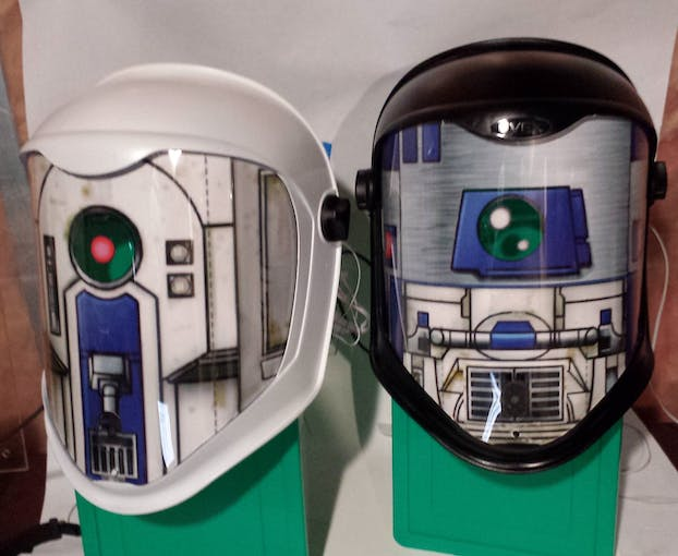 star wars droid translator helmets hackster io improvised stands for the two finished helmets