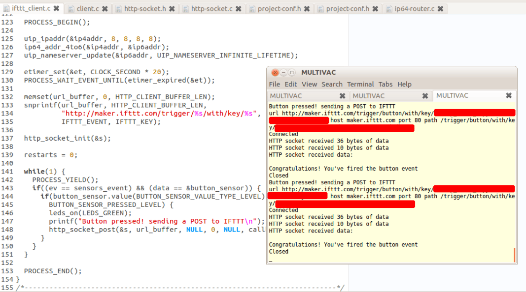 IFTTT client code and callbacks from IFTTT