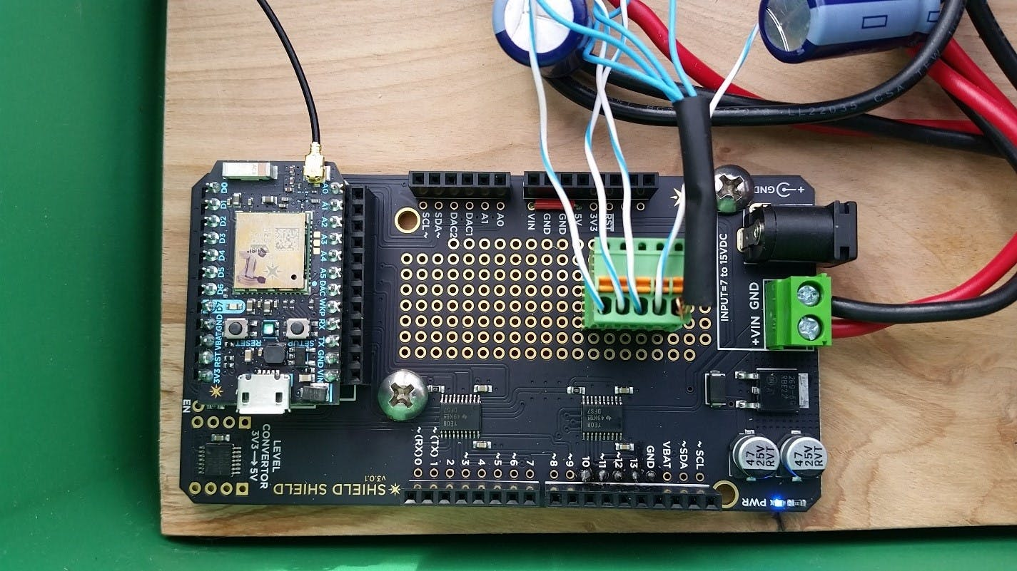 Close up of Shield Shield board with wiring