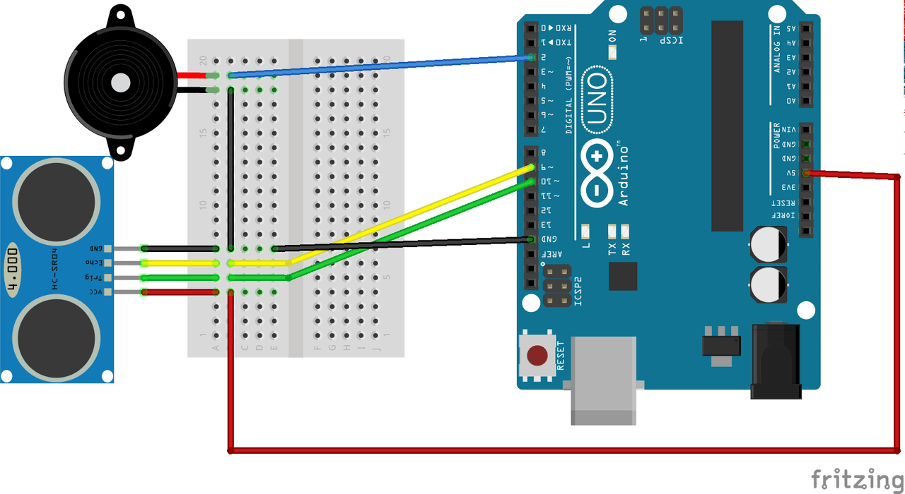 Detecting Obstacles And Warning Arduino Ultrasonic Piezo Sounder Circuit Project Hub