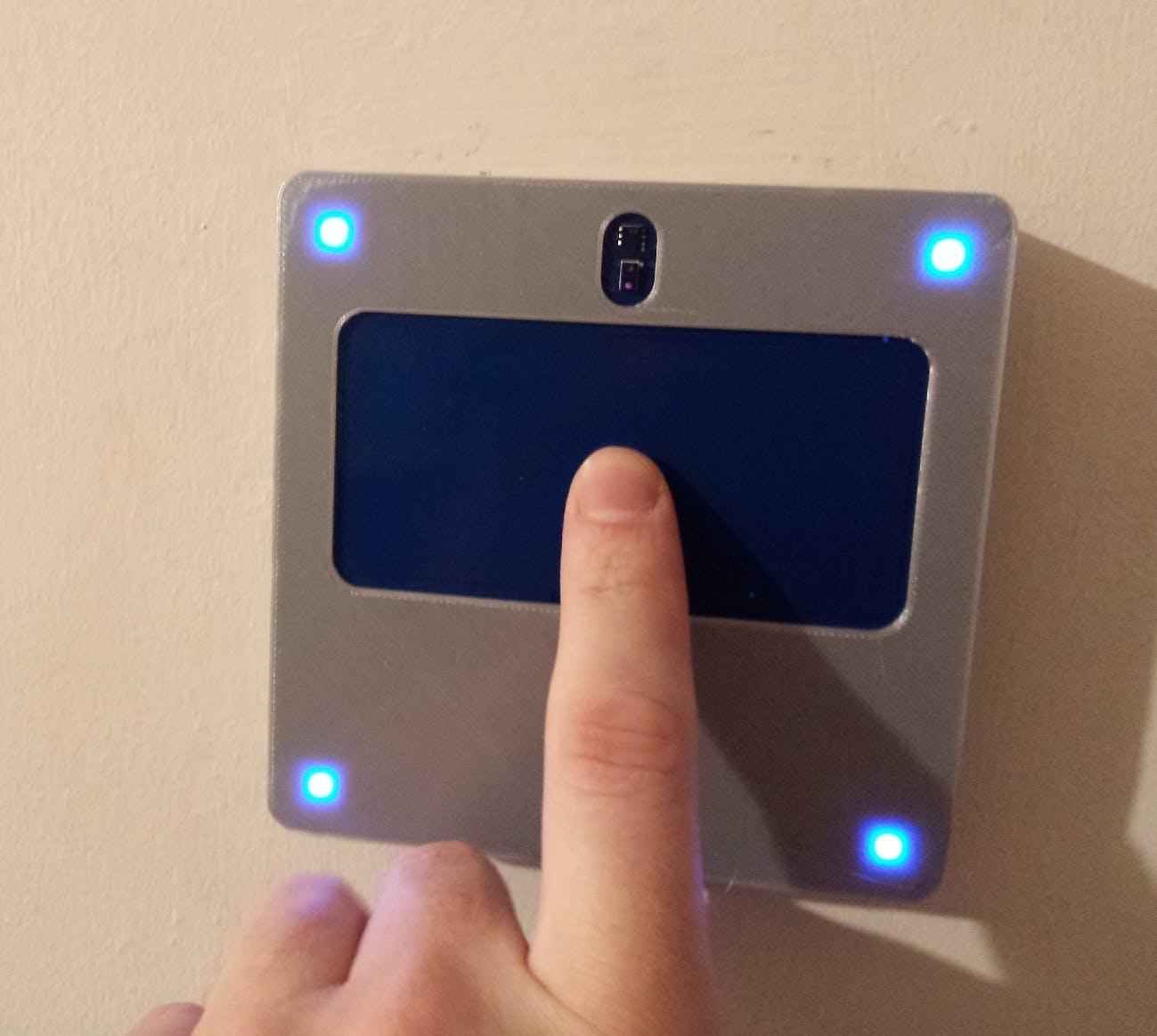 Grey PLA case, the blue LEDs shining though nicely (no holes)