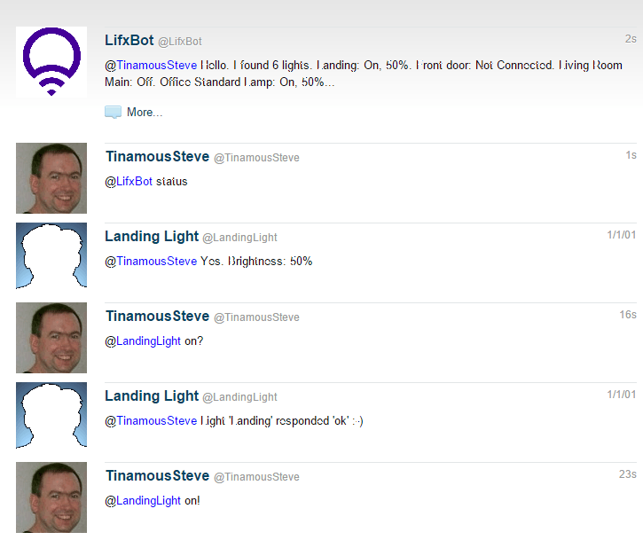 chatting with my light bulbs via Tinamous (note: read bottom to top)