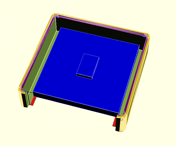 OpenSCAD render to visualise of the base with the switch