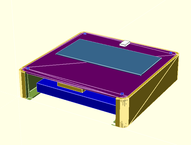 OpenSCAD render to visualise of the base with the switch and PCB fitted