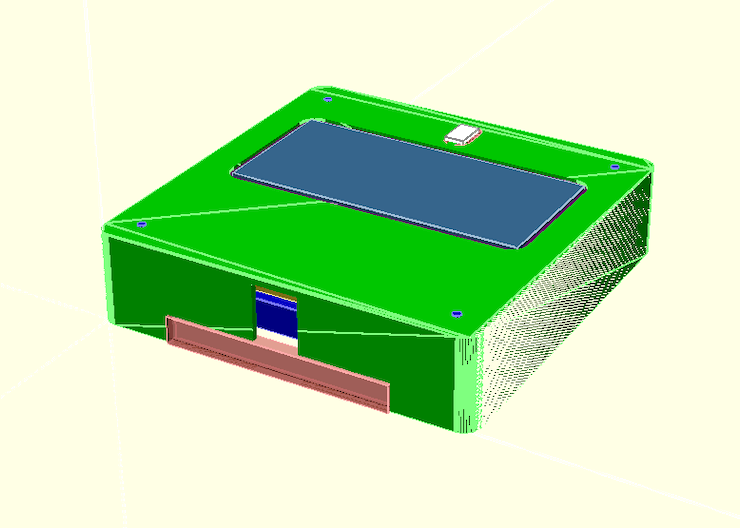 OpenSCAD render to visualise of the cover with the PCB and switch
