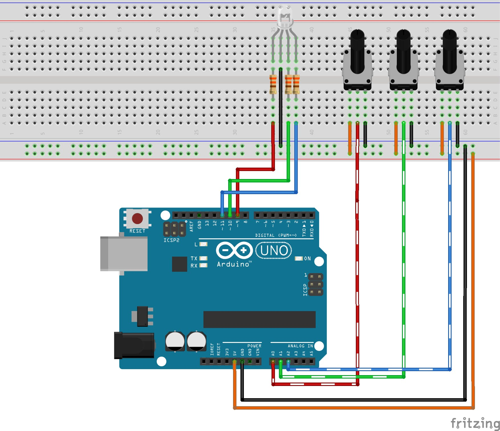 Full circuit breadboard view