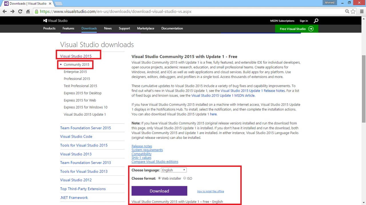 visual studio 2012 express edition for web free download