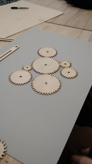 The gears in a proposed orientation.
