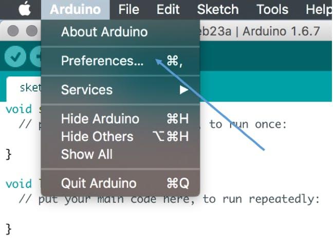 Open Arduino Preferences