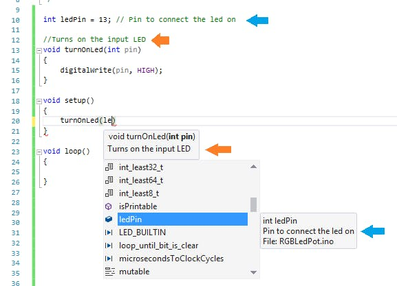 This image shows variable and function documentation simply by using comments