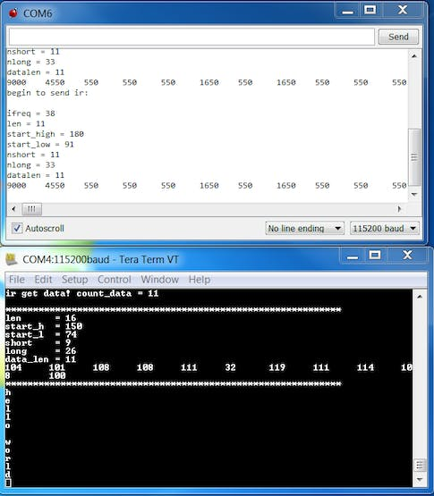 Serial Input and Output. Top: Serial output from sending. Bottom: Serial output from receiving.