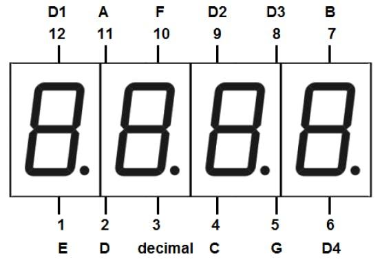 Pinouts of a 4-digit 7-segment display