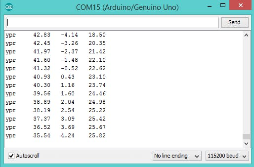 Fig (16) : Final output on Serial Monitor