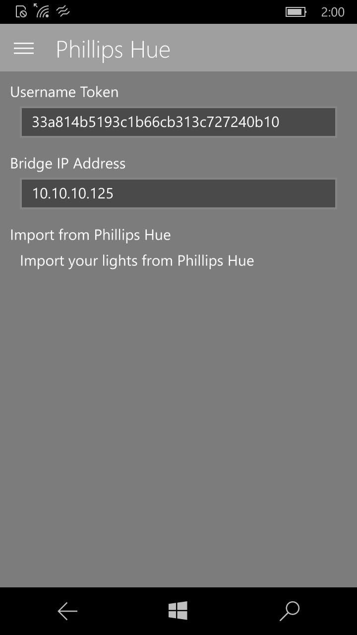 Phillips Hue Settings Screen