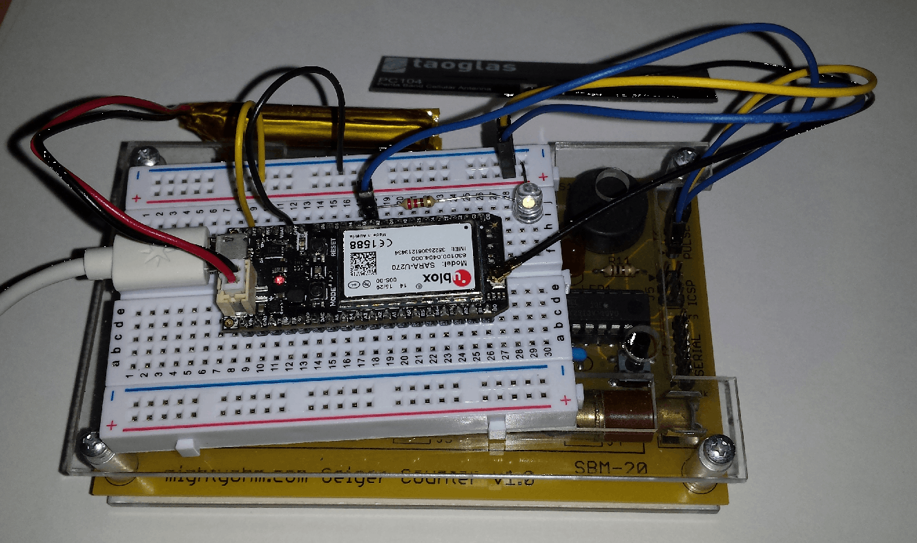Electron connected to the Geiger counter. Same IO pins as the Photon.