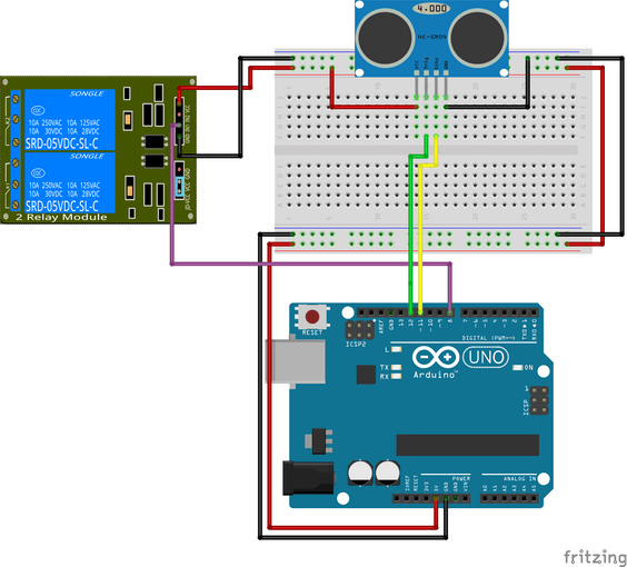 Relay and Ultrasonic sensor connected to Arduino