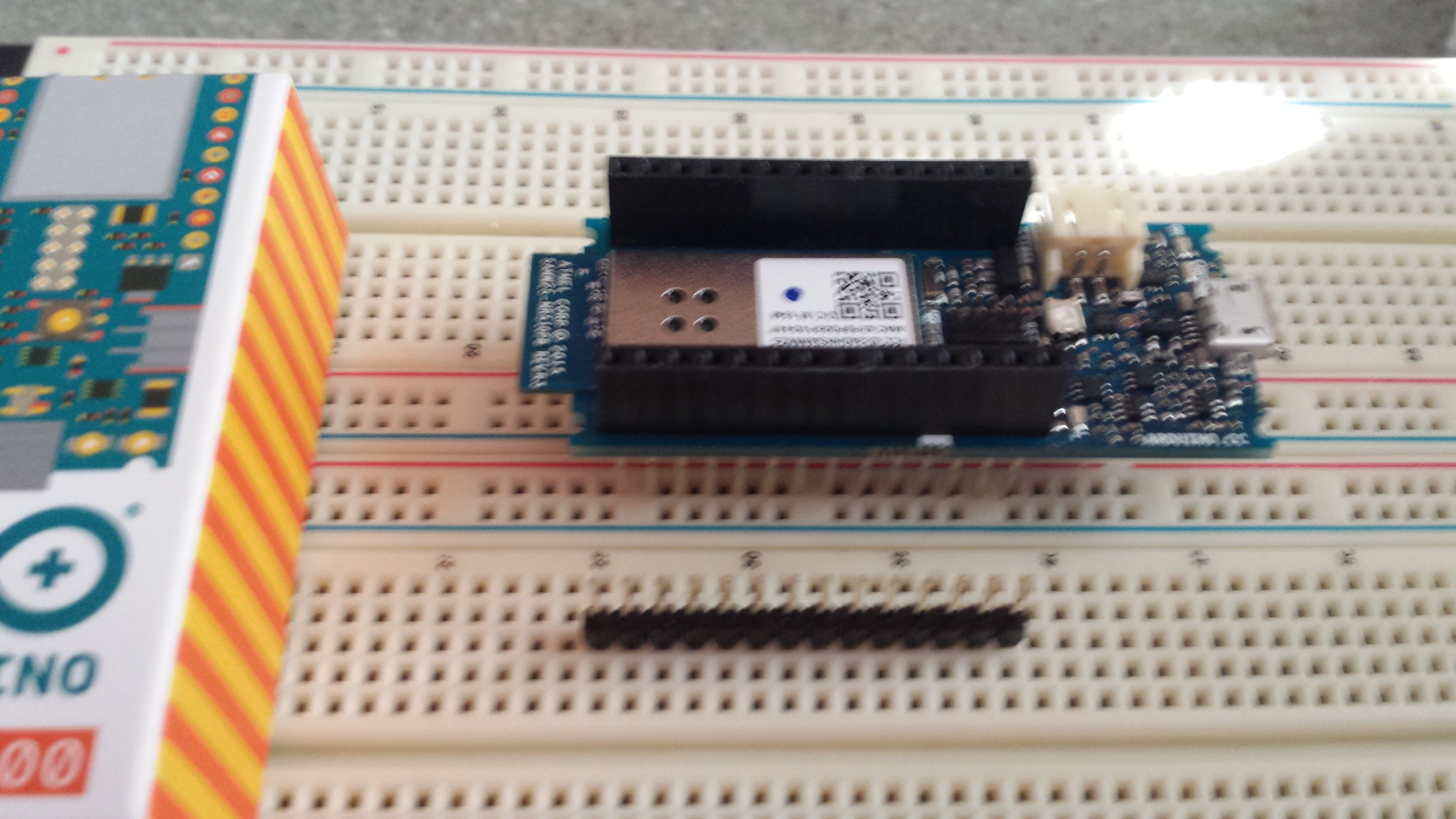 MKR1000 has Arduino Long Stacking Pins inserted onto PC board