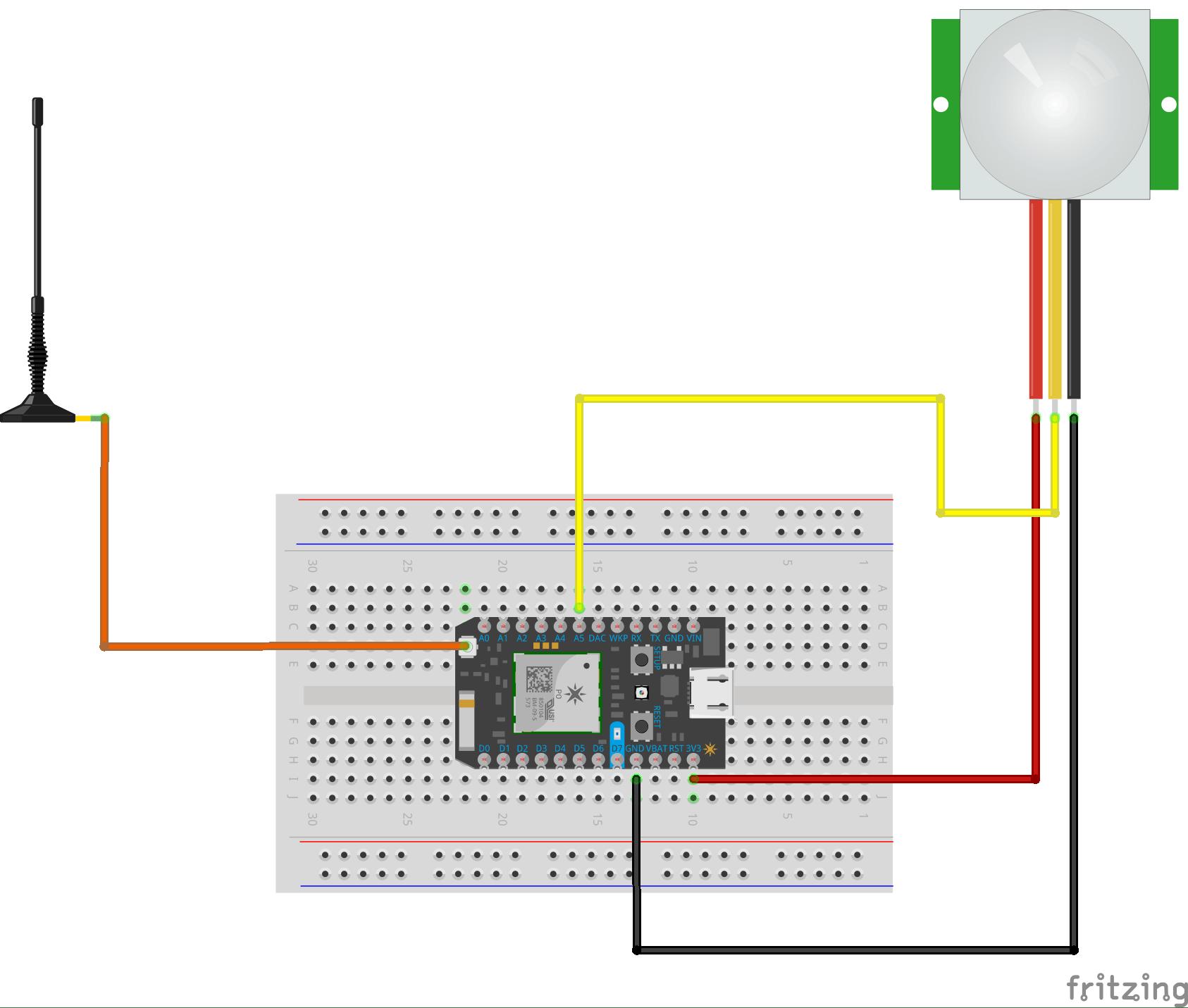 Duck Antenna, Particle Photon,and PIR sensor