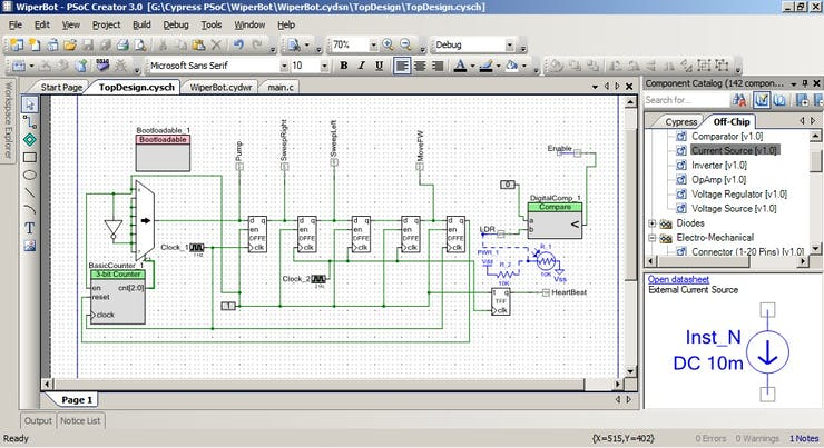 Control Logic for WiperBot in PSoC Creator
