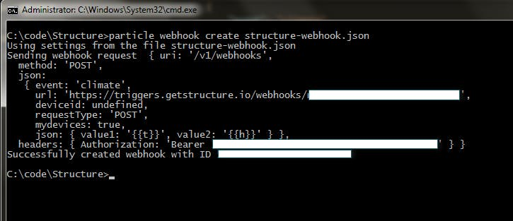 Creating a Particle webhook from the command line