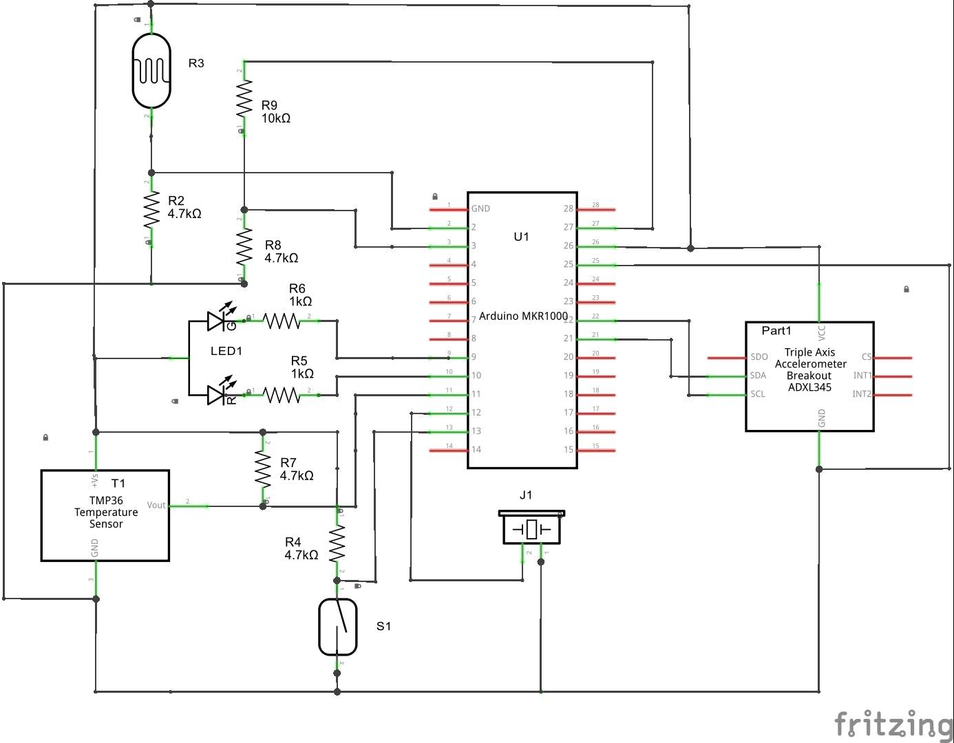 MKR1000 Sensor node Schematic