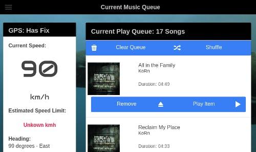 Current music play queue.