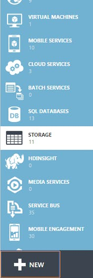 Figure 1: Creating a new storage account