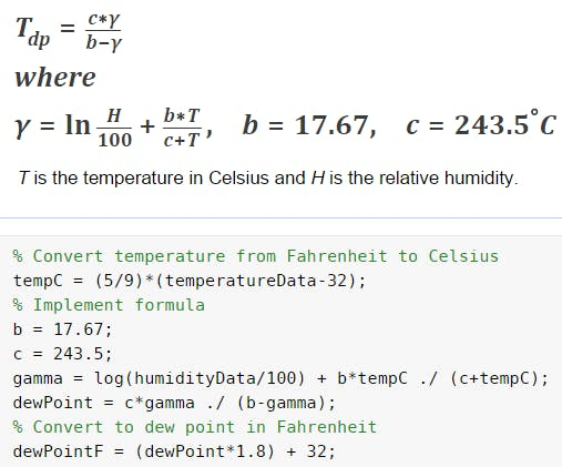 Dew point formula with implementation in MATLAB