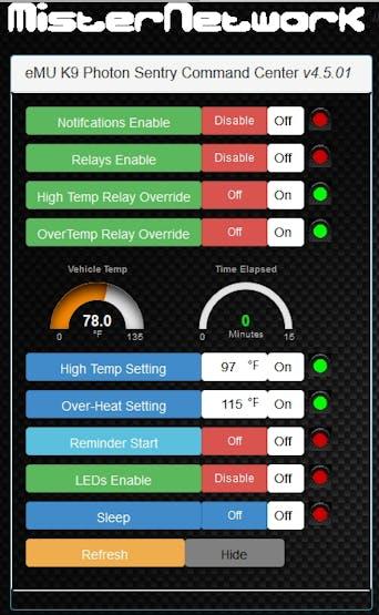 eMU K9 Mobile Sentry Photon Web interface - labels showing