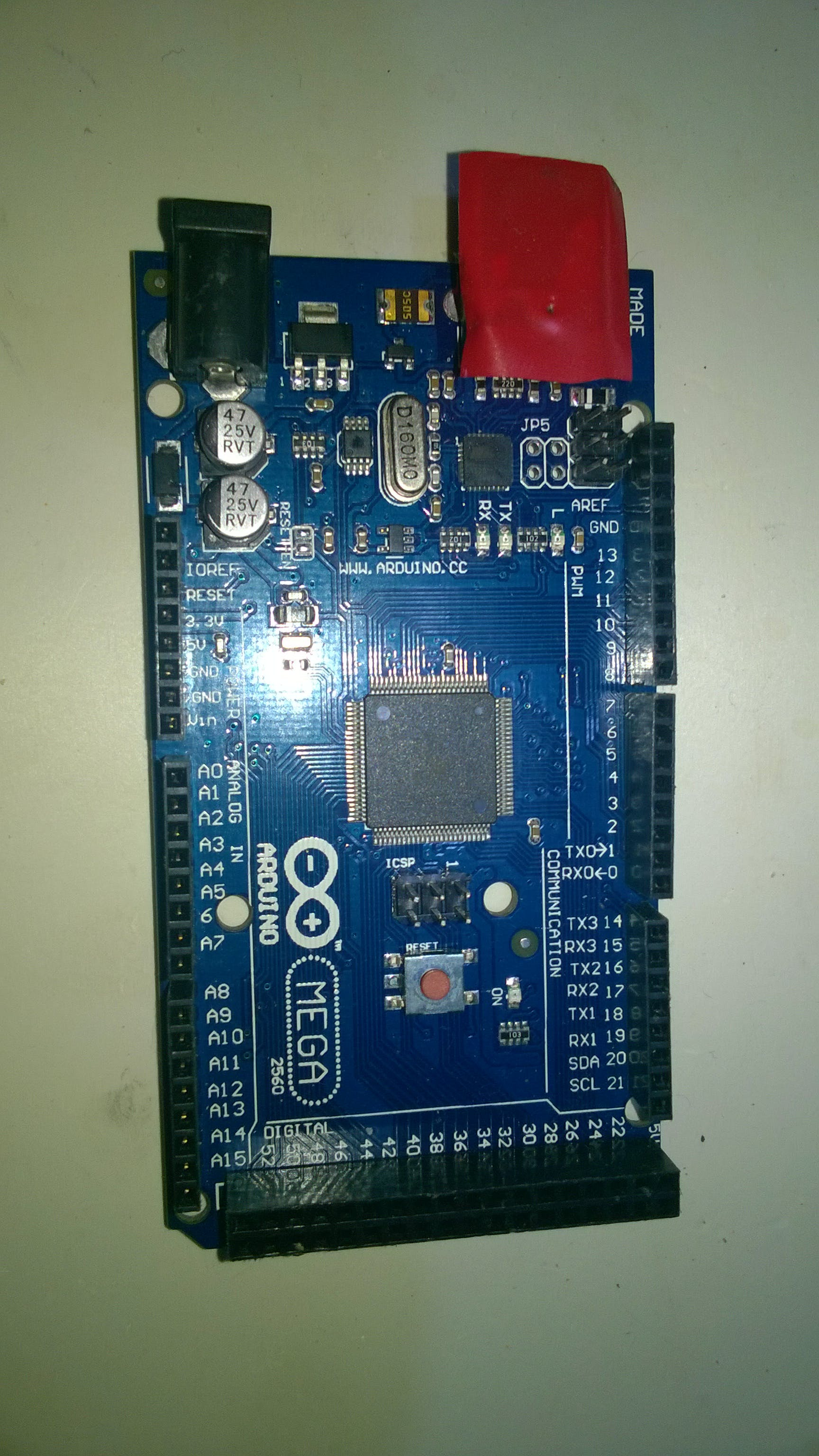Arduino Mega 2560 (with  USB taped because shield has flaw which shorts VCC and GND of port)