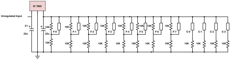 Schematic of voltage divider circuit with connected sensors