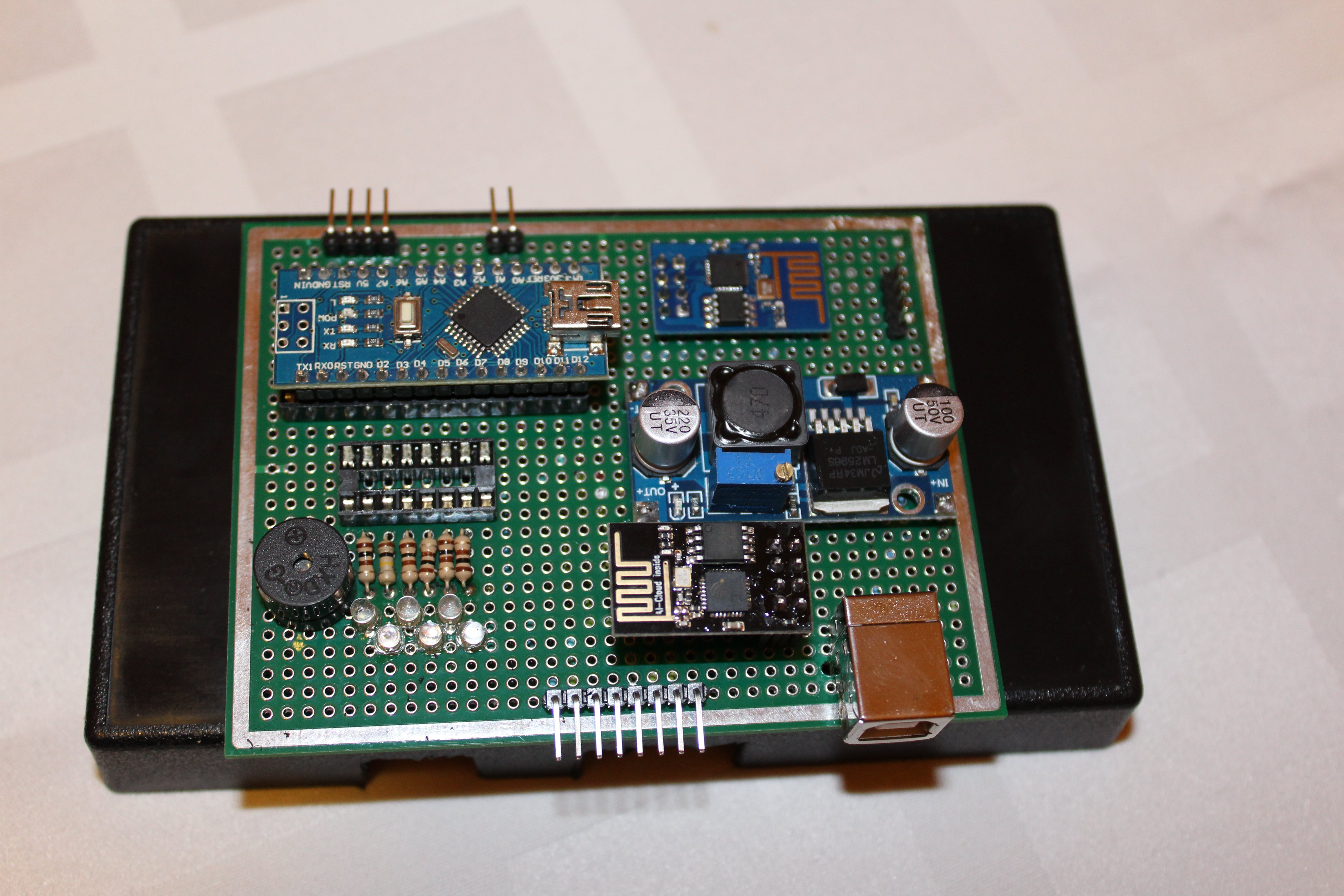 Top view of prototype PCB