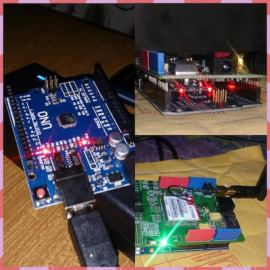 Fig 7: UNO attached with GSM Shield