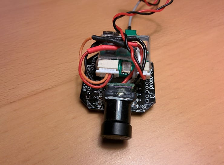 Camera and video transmitter mounted on prototyping expansion board