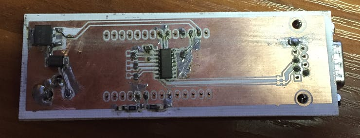CompletedTTL to RS232 board bodges and all