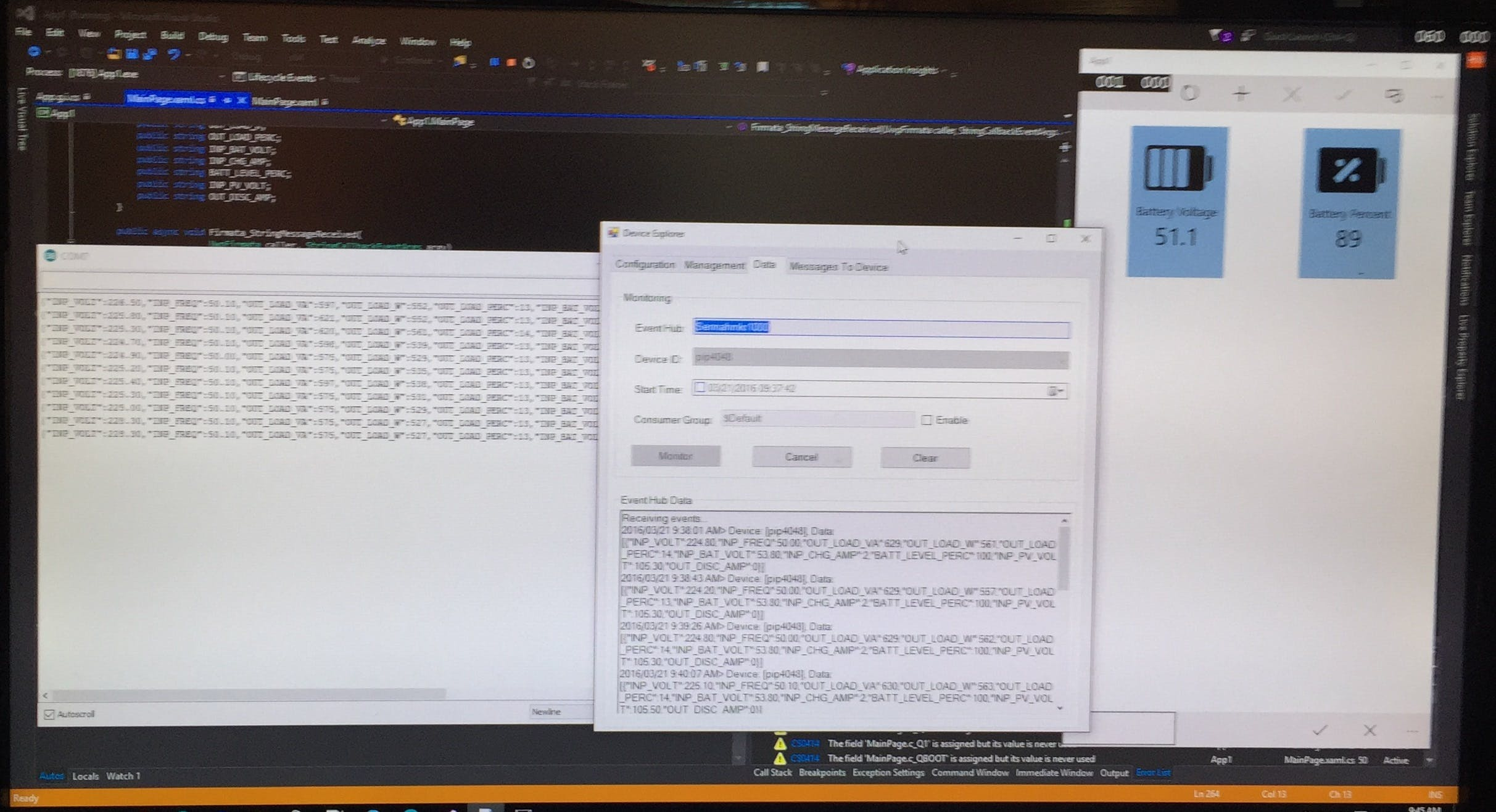 First real data- debug data serial0left, Azure IOT message andAPPright.