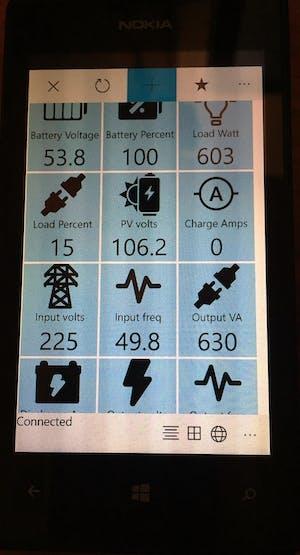 The app displaying UPS/inverter data
