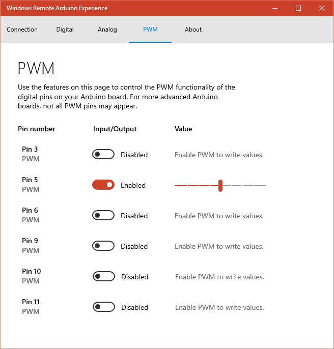 Setting the PMW level