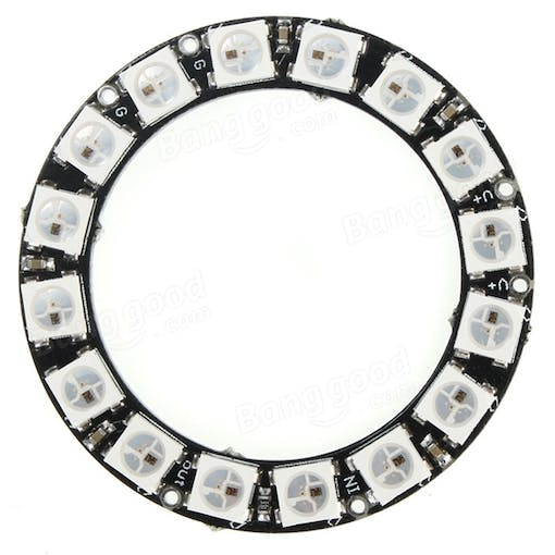 1x RGB LED Ring-16 x WS2812 5050 With Integrated Drivers Round Light DC4V-7V