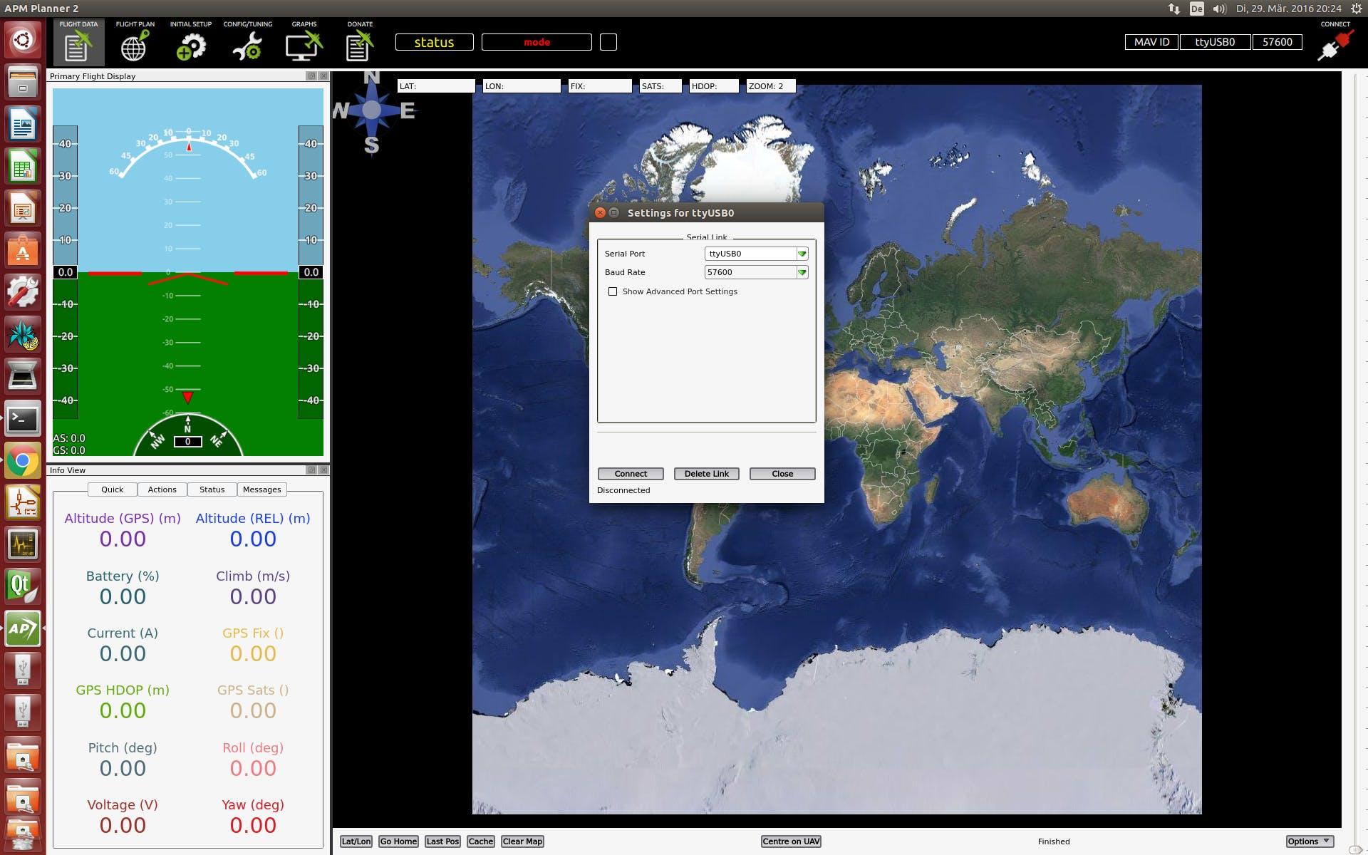 APM Planner port settings