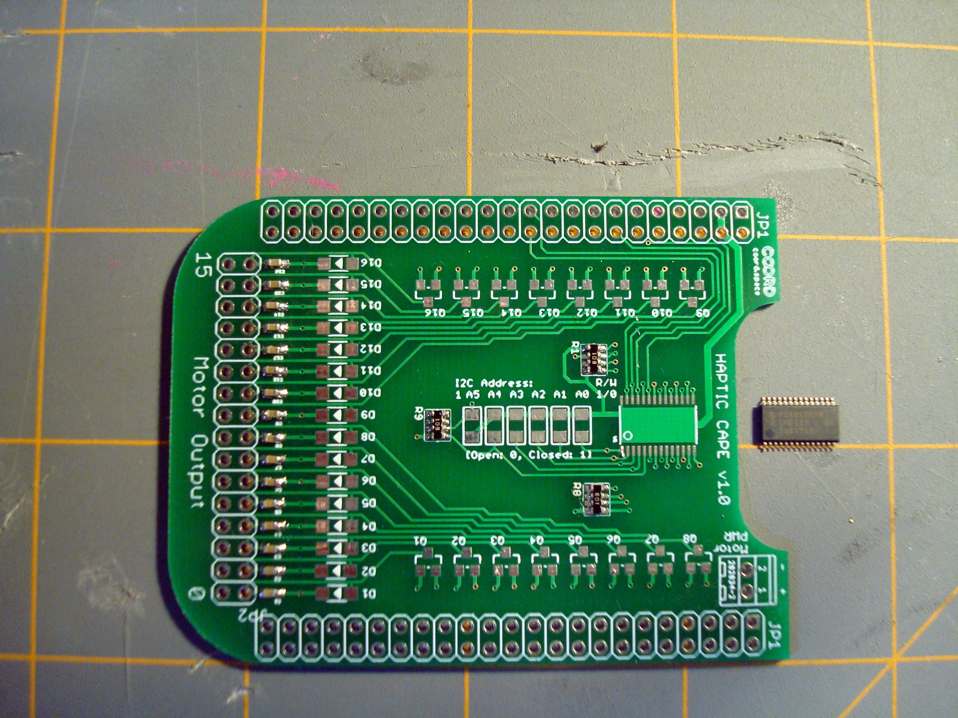 Now for the PCA9685 PWM controller. This is in a 28-TSSOP package. Pretty small but not anything to worry about!