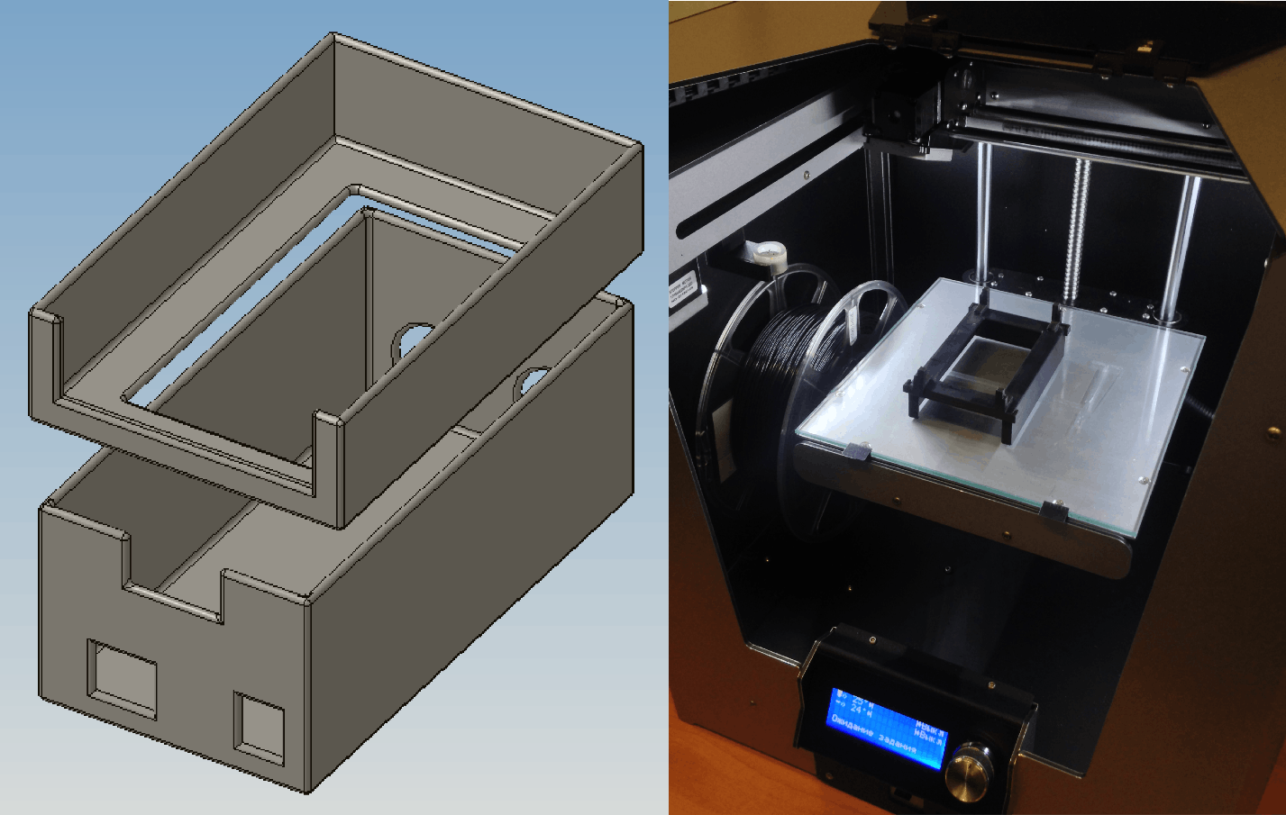 Roof box with battery holder design and printing