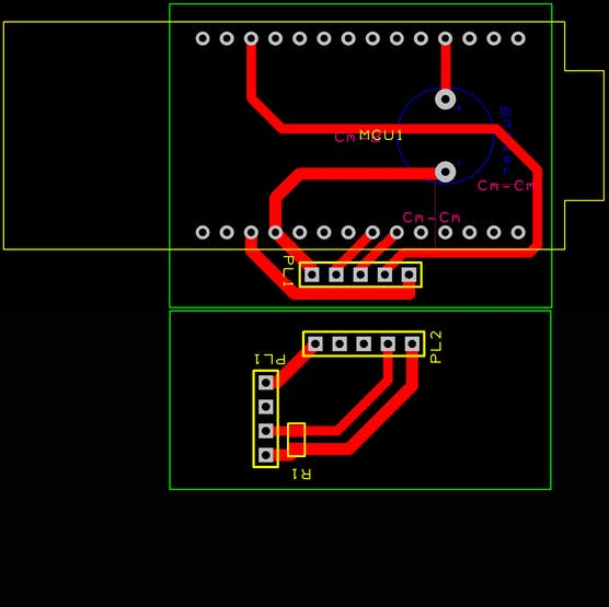 The standard board with the expansion for a DTH11, a temperature sensor