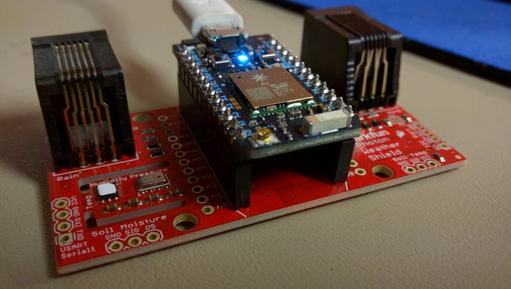 Particle Photon mounted on the SparkFun WeatherShield