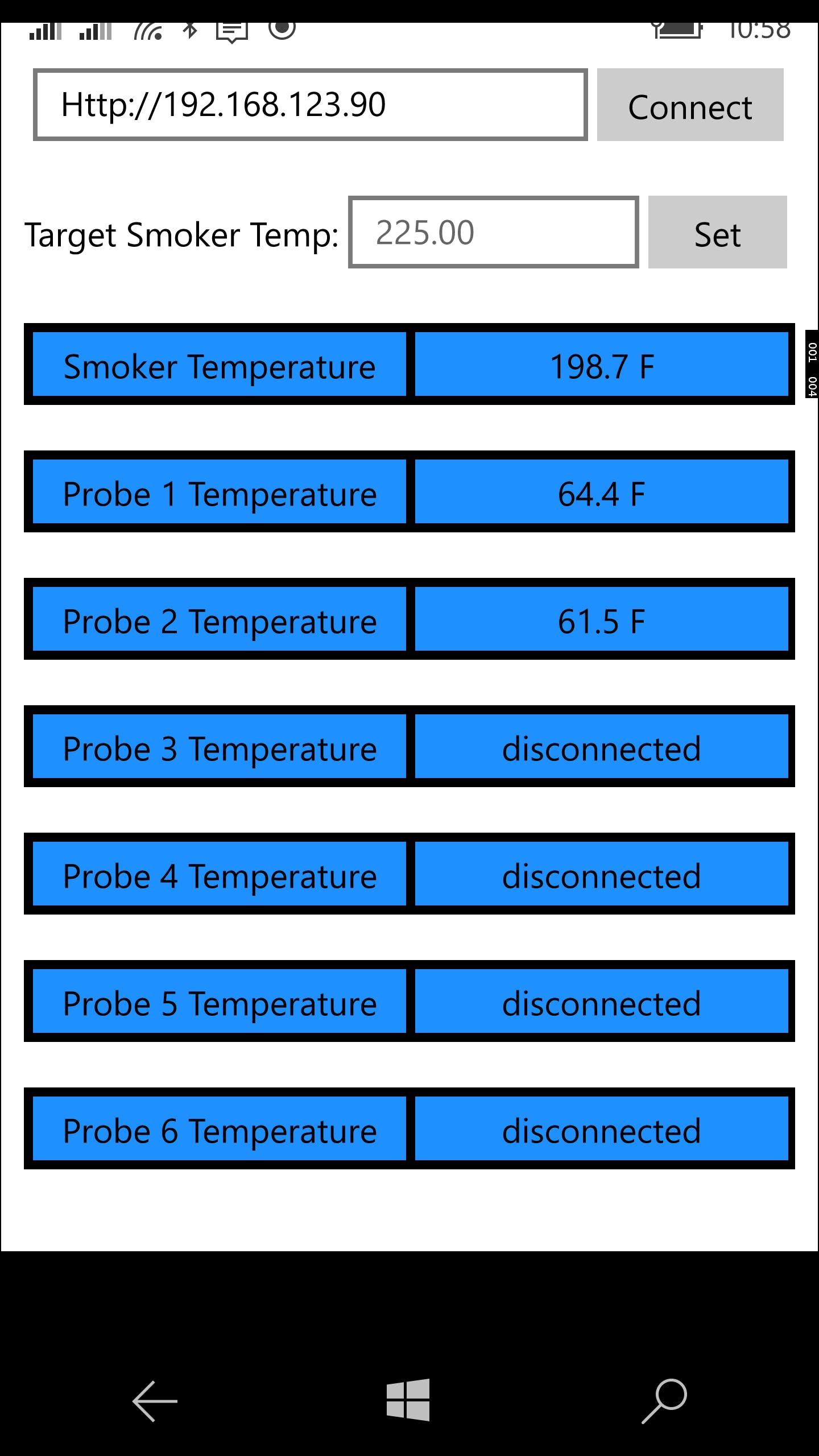 Smokin Hot!, The universal app for monitoring the smoker controller. The smoker temperature is color coded to show if the temperature is within 5 degrees of target.